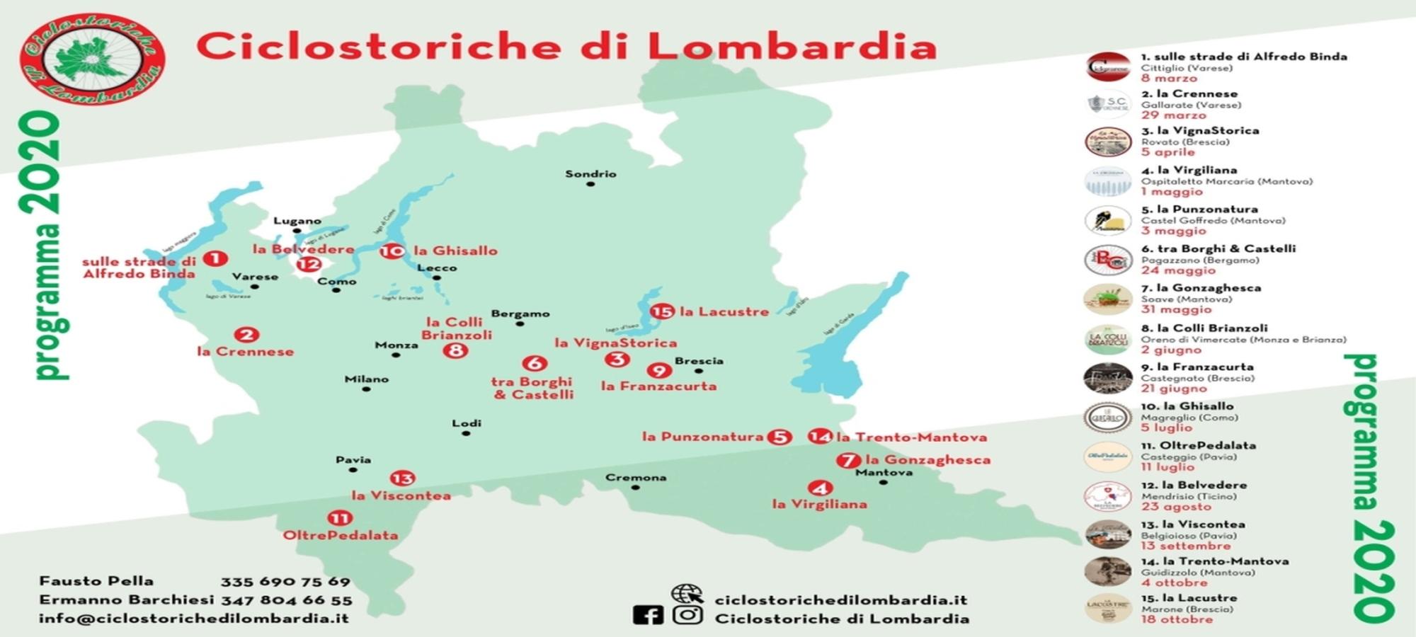 Ciclostoriche di Lombardia programma 2020